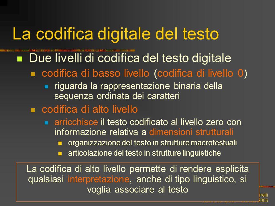 Lenci, Montemagni, Pirrelli Testo e computer – Carocci 2005 La codifica digitale del testo Due livelli di codifica del testo digitale codifica di bass