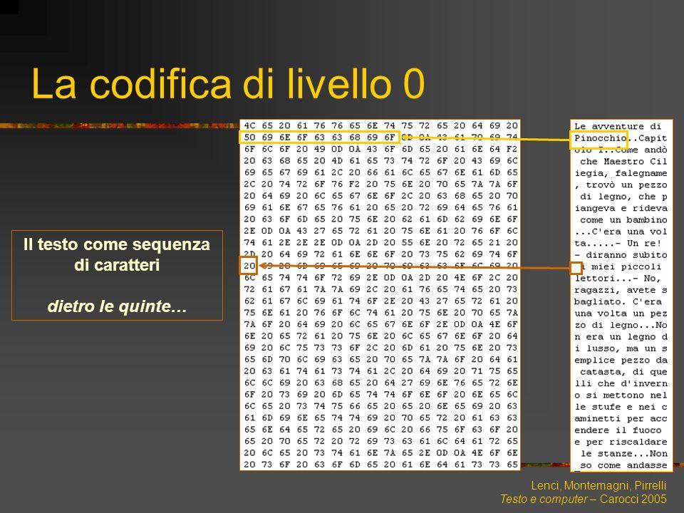 Lenci, Montemagni, Pirrelli Testo e computer – Carocci 2005 The Universal Character Set UNICODE (ISO-10646)