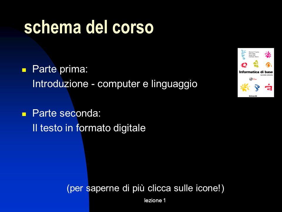 lezione 1 schema del corso Parte prima: Introduzione - computer e linguaggio Parte seconda: Il testo in formato digitale (per saperne di più clicca su