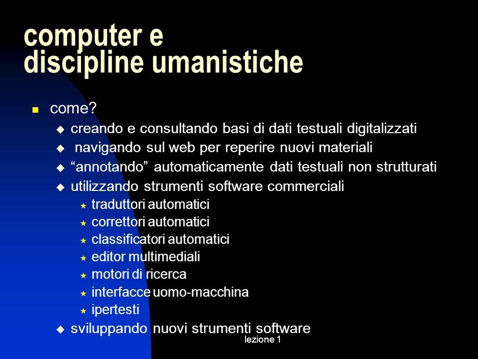 lezione 1 computer e discipline umanistiche come? creando e consultando basi di dati testuali digitalizzati navigando sul web per reperire nuovi mater