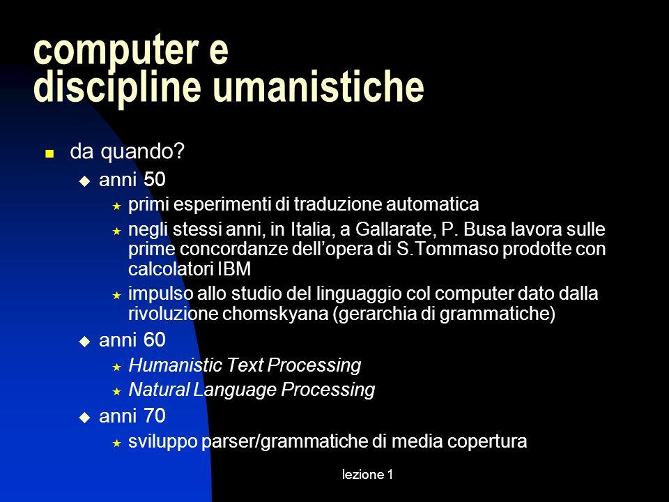 lezione 1 computer e discipline umanistiche da quando? anni 50 primi esperimenti di traduzione automatica negli stessi anni, in Italia, a Gallarate, P