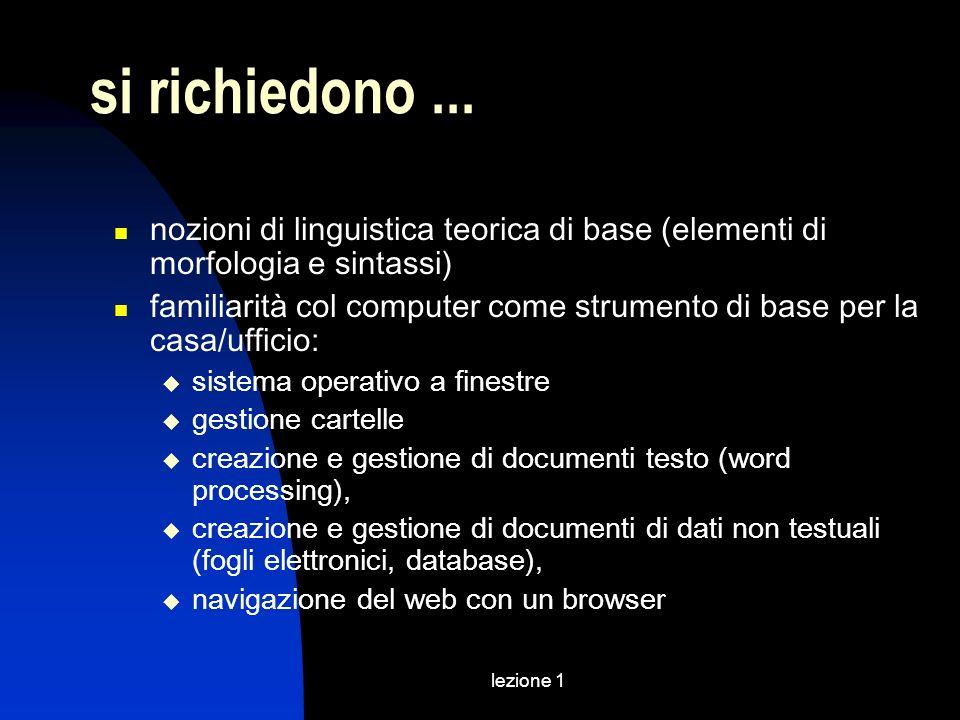 lezione 1 si richiedono... nozioni di linguistica teorica di base (elementi di morfologia e sintassi) familiarità col computer come strumento di base