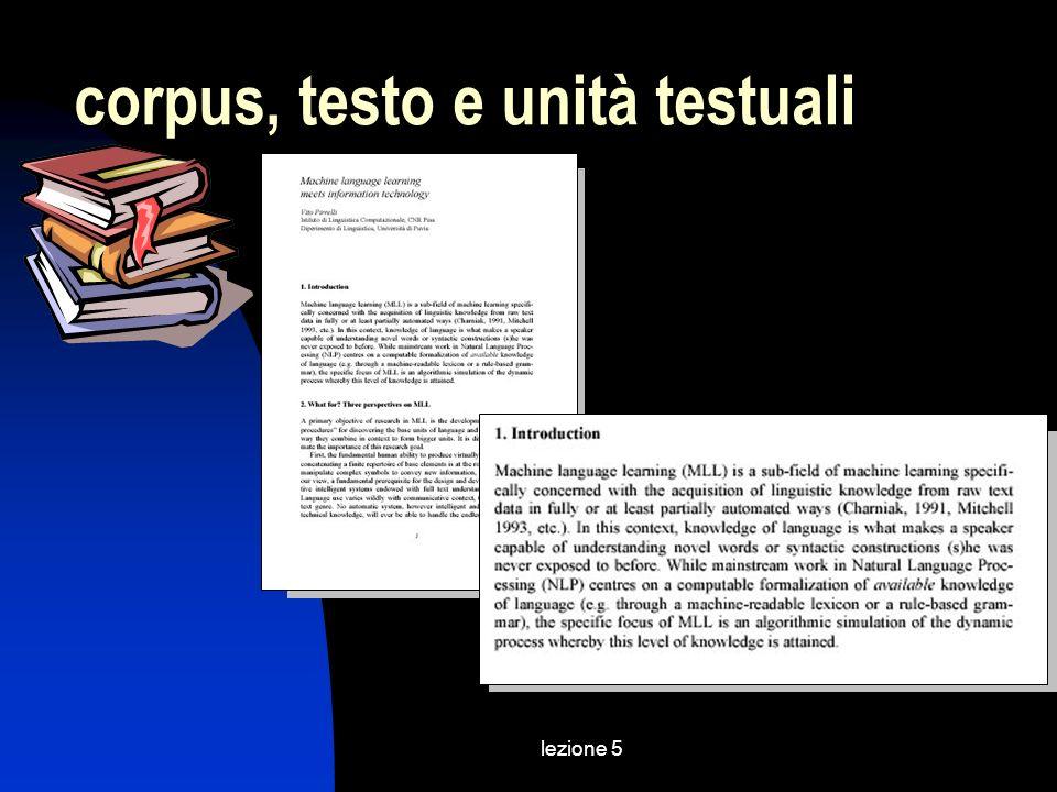 lezione 5 corpus, testo e unità testuali