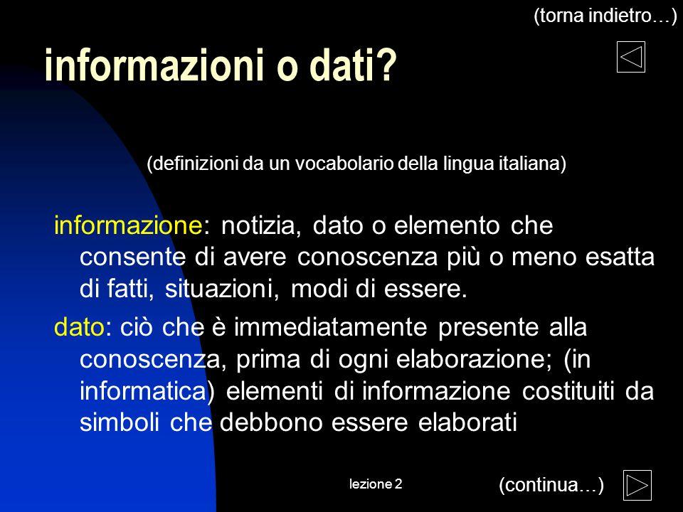 lezione 2 informazioni o dati? (definizioni da un vocabolario della lingua italiana) informazione: notizia, dato o elemento che consente di avere cono