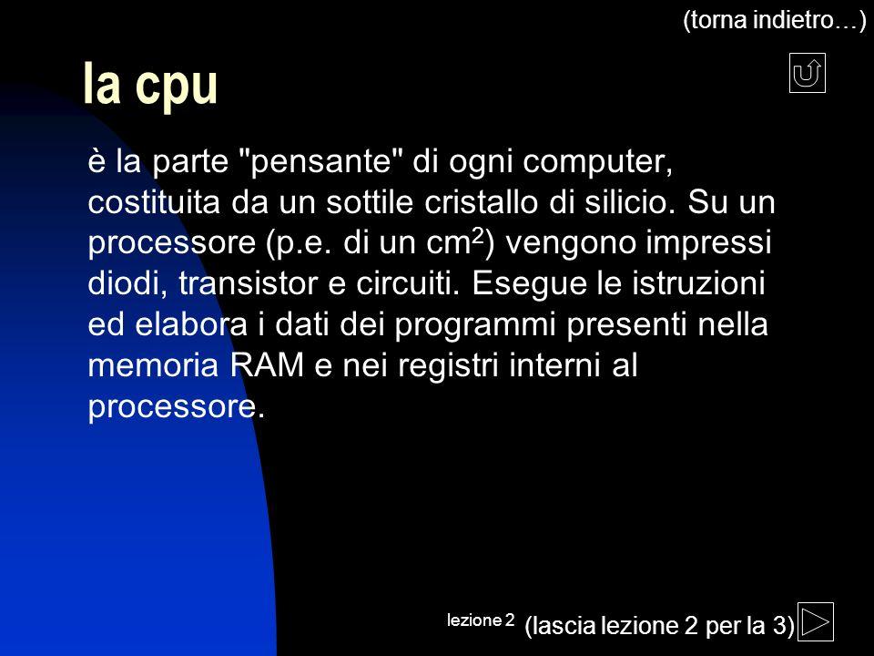lezione 2 la cpu è la parte pensante di ogni computer, costituita da un sottile cristallo di silicio.