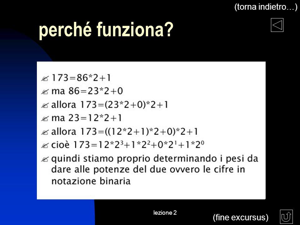 lezione 2 perché funziona? (fine excursus) (torna indietro…)