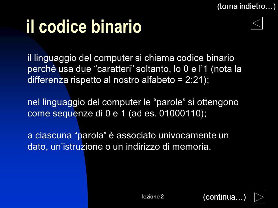 lezione 2 il codice binario il linguaggio del computer si chiama codice binario perché usa due caratteri soltanto, lo 0 e l1 (nota la differenza rispetto al nostro alfabeto = 2:21); nel linguaggio del computer le parole si ottengono come sequenze di 0 e 1 (ad es.