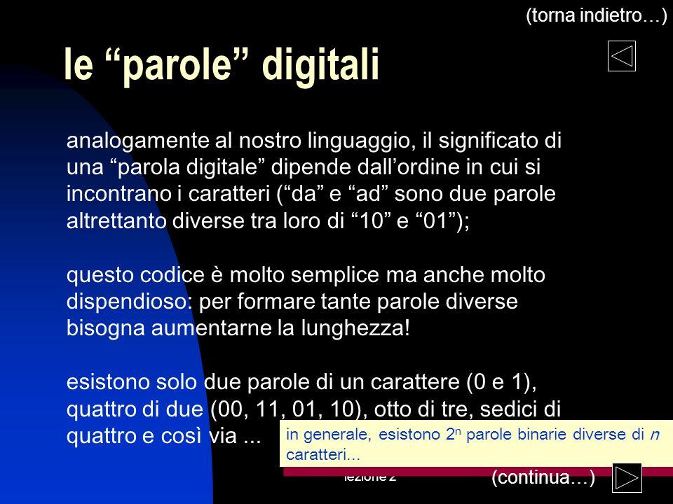 lezione 2 le parole digitali analogamente al nostro linguaggio, il significato di una parola digitale dipende dallordine in cui si incontrano i caratt
