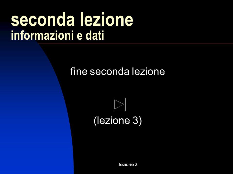 lezione 2 fine seconda lezione seconda lezione informazioni e dati (lezione 3)