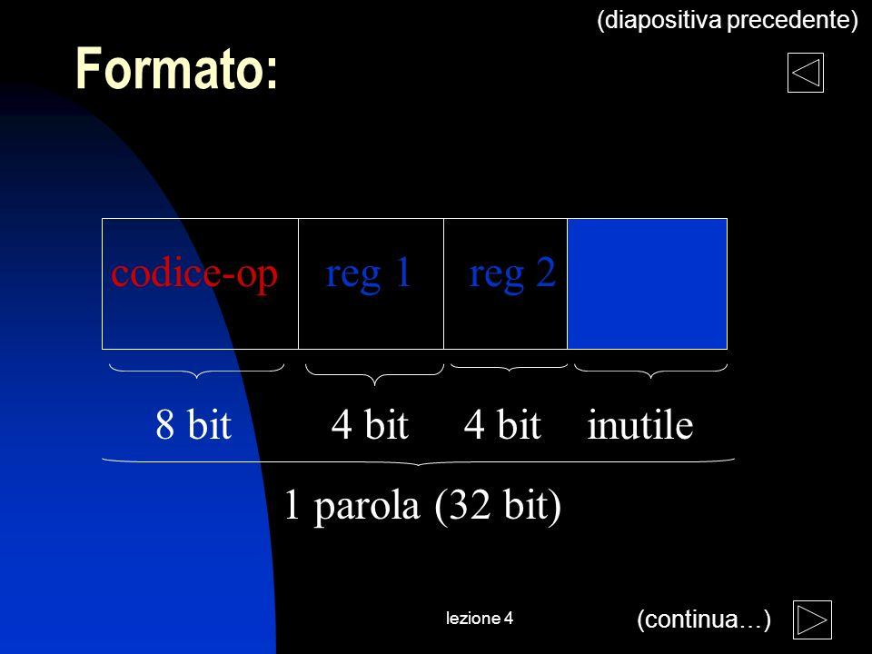 lezione 4 codice-op reg 1 reg 2 8 bit 4 bit 4 bit inutile 1 parola (32 bit) Formato: (diapositiva precedente) (continua…)
