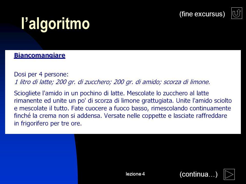 lezione 4 lalgoritmo (continua…) (fine excursus)