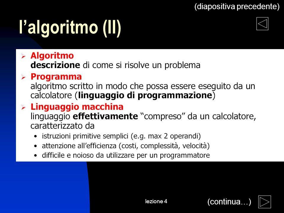 lezione 4 lalgoritmo (II) (continua…) (diapositiva precedente)