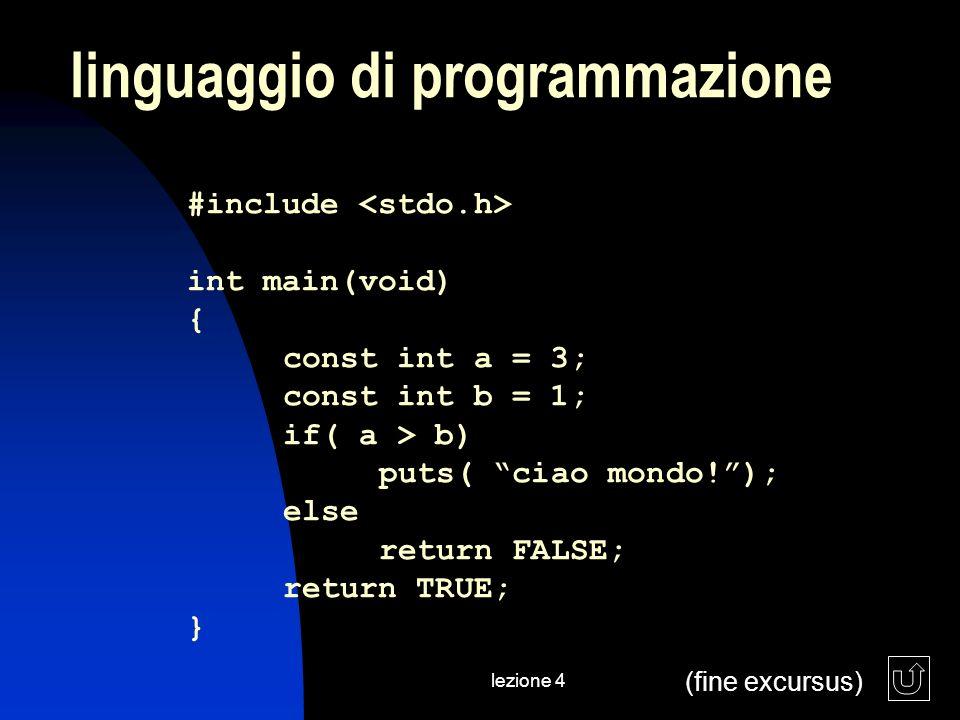 lezione 4 linguaggio di programmazione (fine excursus) #include int main(void) { const int a = 3; const int b = 1; if( a > b) puts( ciao mondo!); else