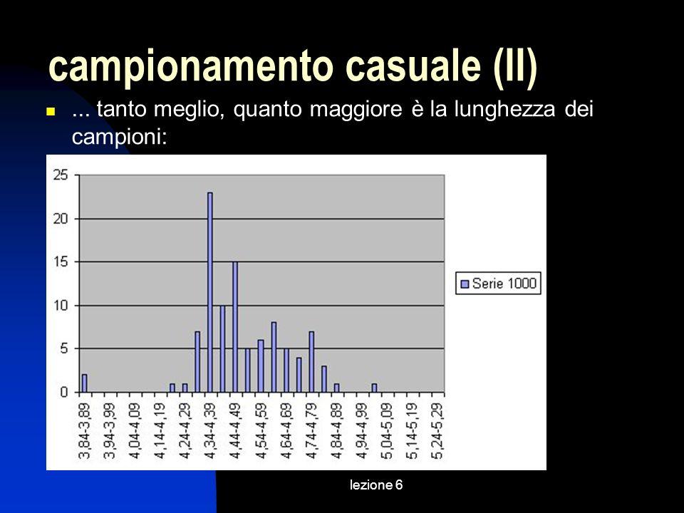 lezione 6 campionamento casuale (II)... tanto meglio, quanto maggiore è la lunghezza dei campioni:
