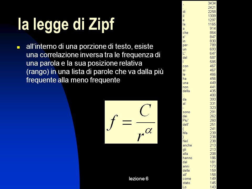 lezione 6 la legge di Zipf allinterno di una porzione di testo, esiste una correlazione inversa tra le frequenza di una parola e la sua posizione rela