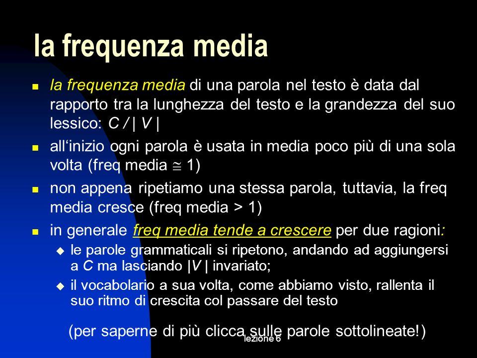 lezione 6 la frequenza media di una parola nel testo è data dal rapporto tra la lunghezza del testo e la grandezza del suo lessico: C / | V | allinizi