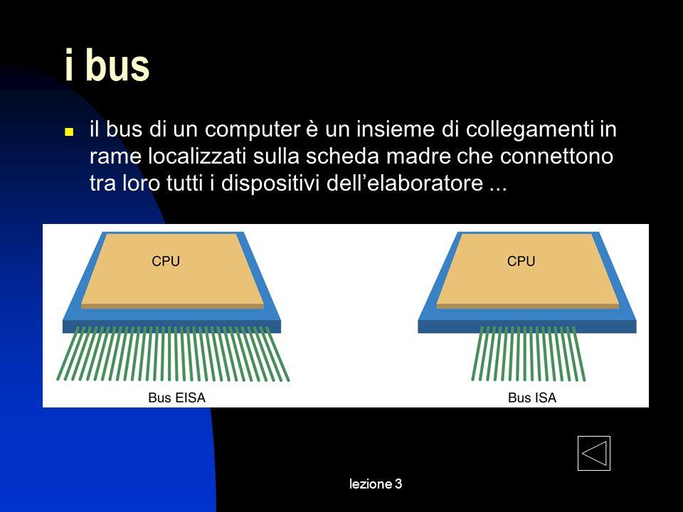 lezione 3 i bus il bus di un computer è un insieme di collegamenti in rame localizzati sulla scheda madre che connettono tra loro tutti i dispositivi dellelaboratore...