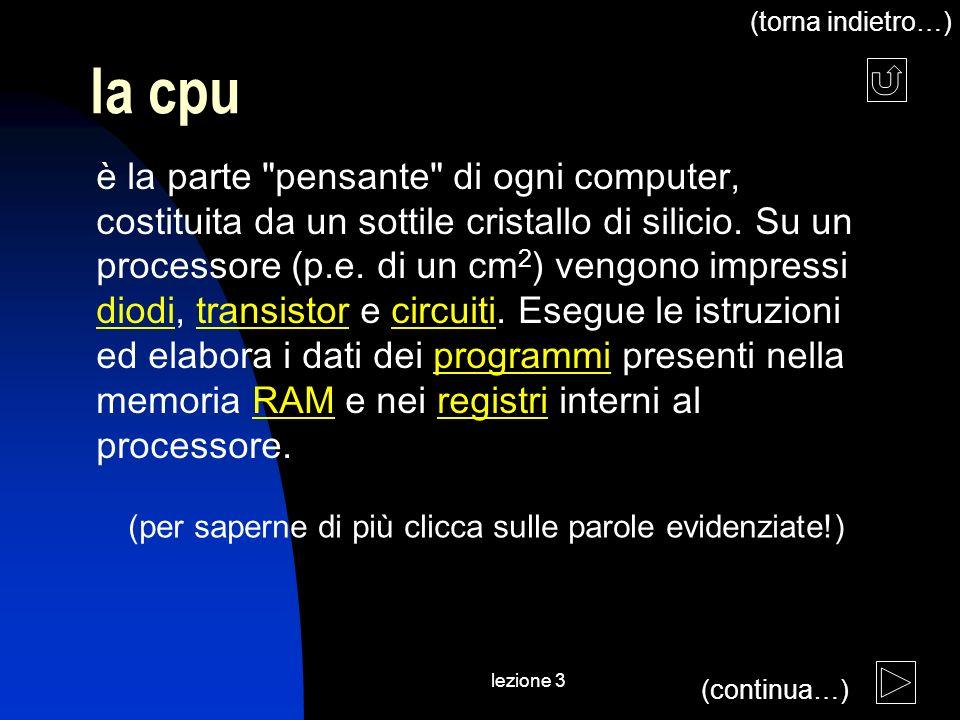 lezione 3 la cpu è la parte pensante di ogni computer, costituita da un sottile cristallo di silicio.