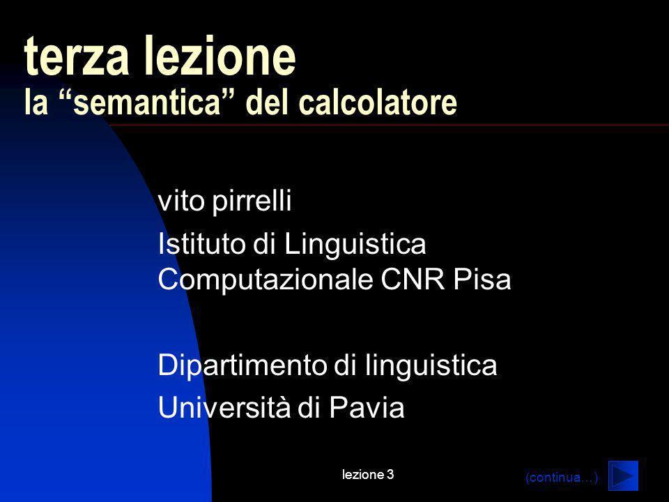 lezione 3 terza lezione la semantica del calcolatore vito pirrelli Istituto di Linguistica Computazionale CNR Pisa Dipartimento di linguistica Università di Pavia (continua…)