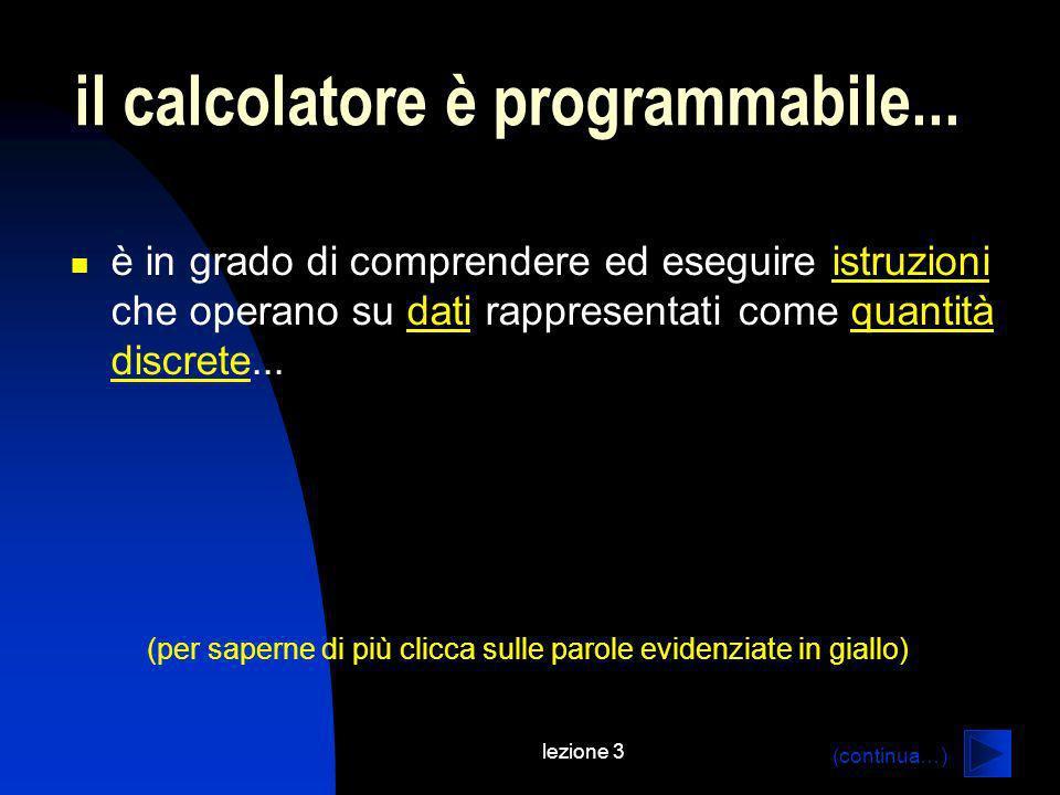 lezione 3 connettivi logici: OR (inclusivo) AB (A) or (B) 111 101 011 000 (fine excursus) (torna indietro…)