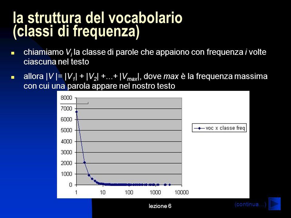 lezione 6 la struttura del vocabolario (classi di frequenza) chiamiamo V i la classe di parole che appaiono con frequenza i volte ciascuna nel testo allora |V |= |V 1 | + |V 2 | +...+ |V max |, dove max è la frequenza massima con cui una parola appare nel nostro testo (continua…)