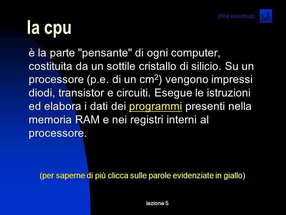lezione 5 la cpu è la parte pensante di ogni computer, costituita da un sottile cristallo di silicio.