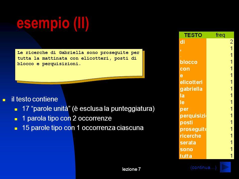 lezione 7 esempio (II) Le ricerche di Gabriella sono proseguite per tutta la mattinata con elicotteri, posti di blocco e perquisizioni. il testo conti