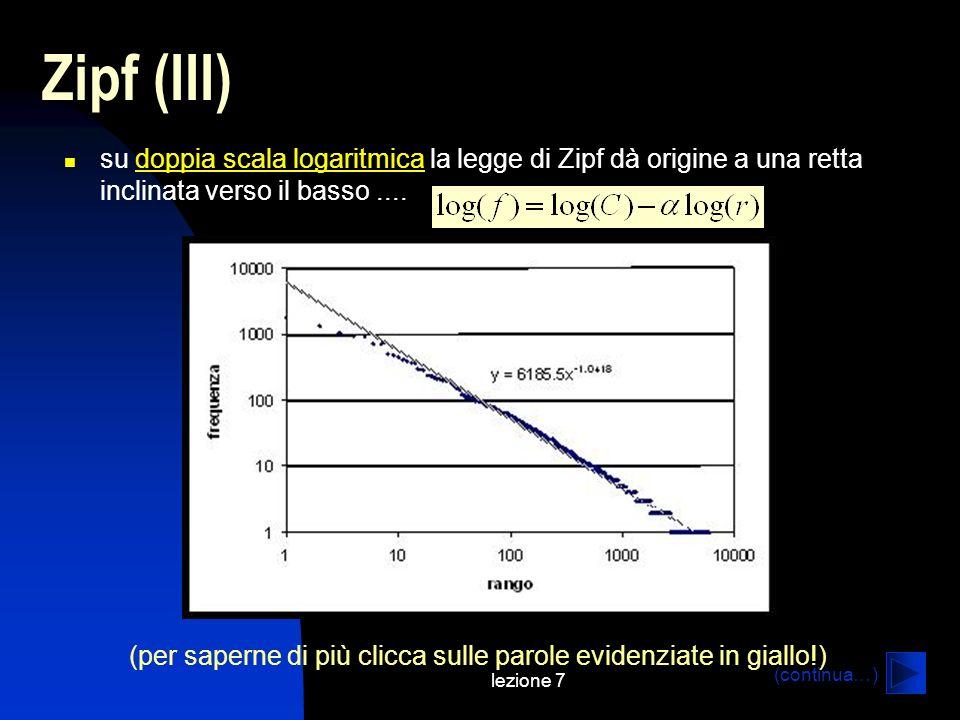 lezione 7 Zipf (III) su doppia scala logaritmica la legge di Zipf dà origine a una retta inclinata verso il basso....doppia scala logaritmica (per sap