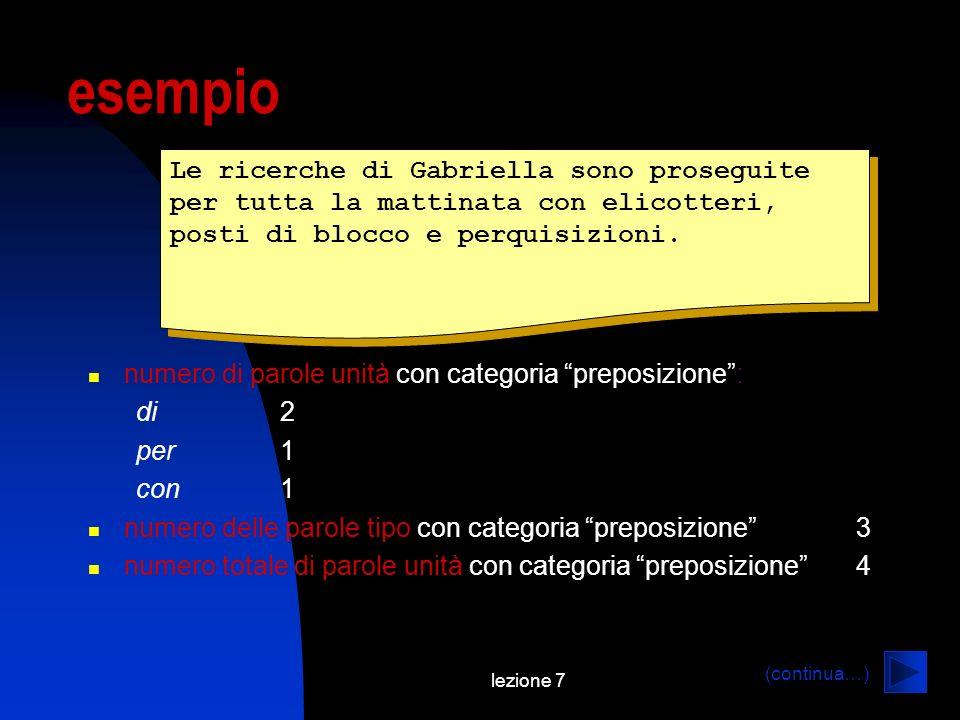 lezione 7 esempio Le ricerche di Gabriella sono proseguite per tutta la mattinata con elicotteri, posti di blocco e perquisizioni.