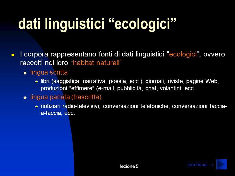lezione 5 dati linguistici ecologici I corpora rappresentano fonti di dati linguistici ecologici, ovvero raccolti nei loro habitat naturali lingua scr