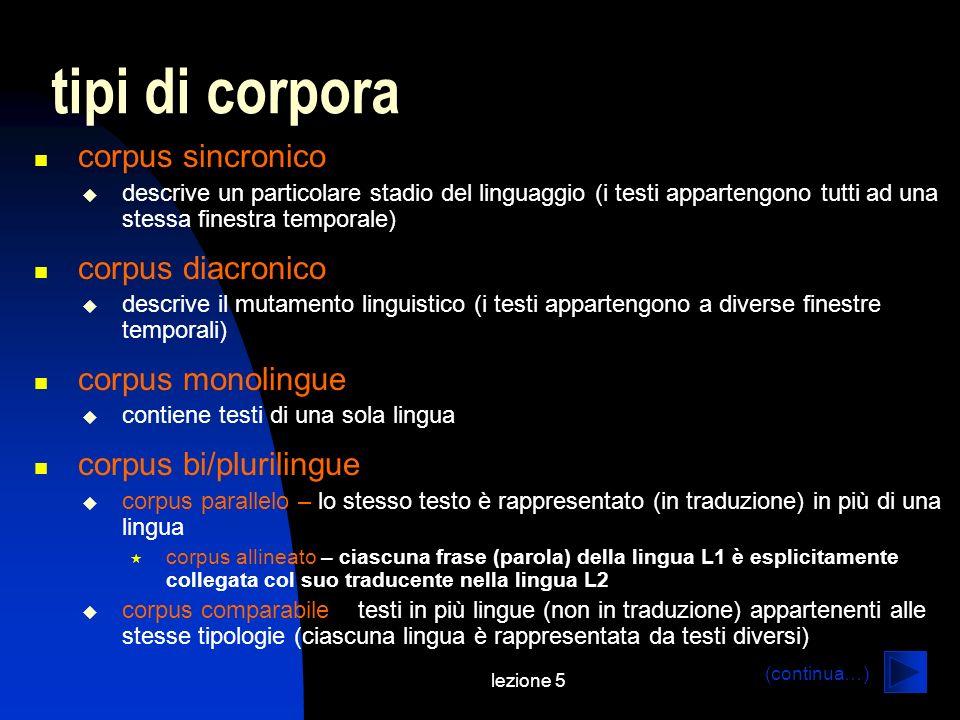 lezione 5 tipi di corpora corpus sincronico descrive un particolare stadio del linguaggio (i testi appartengono tutti ad una stessa finestra temporale