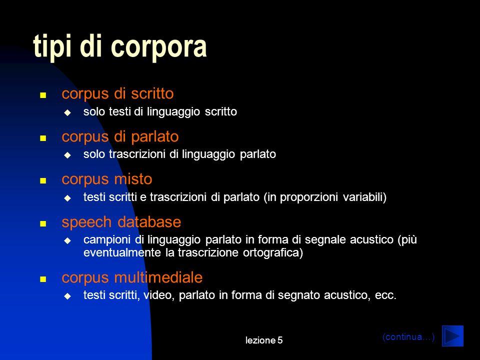 lezione 5 tipi di corpora corpus di scritto solo testi di linguaggio scritto corpus di parlato solo trascrizioni di linguaggio parlato corpus misto te