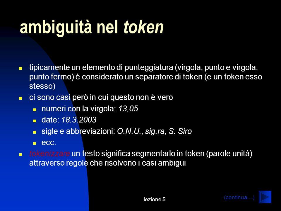 lezione 5 ambiguità nel token tipicamente un elemento di punteggiatura (virgola, punto e virgola, punto fermo) è considerato un separatore di token (e