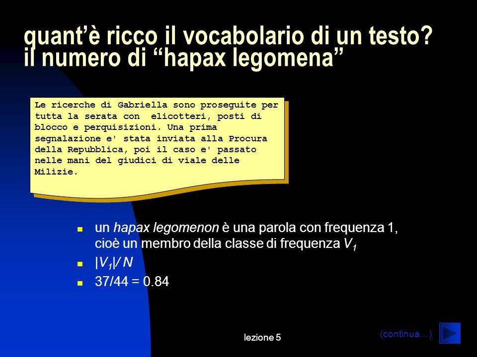lezione 5 quantè ricco il vocabolario di un testo? il numero di hapax legomena Le ricerche di Gabriella sono proseguite per tutta la serata con elicot
