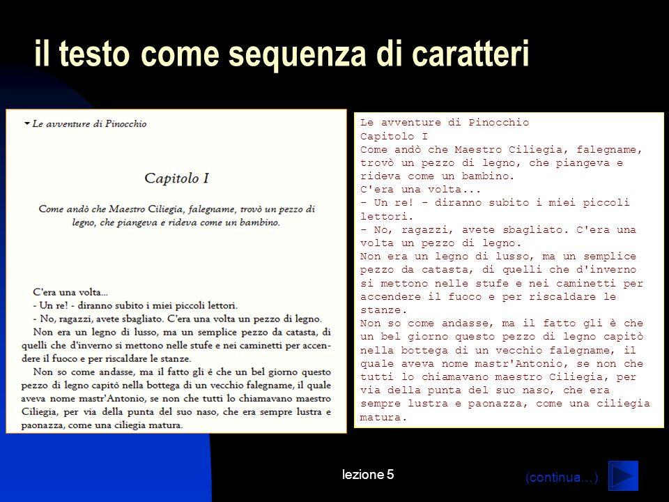 lezione 5 il testo come sequenza di caratteri Le avventure di Pinocchio Capitolo I Come andò che Maestro Ciliegia, falegname, trovò un pezzo di legno,