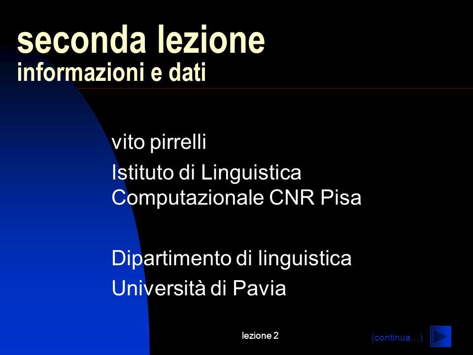 lezione 2 seconda lezione informazioni e dati vito pirrelli Istituto di Linguistica Computazionale CNR Pisa Dipartimento di linguistica Università di Pavia (continua…)