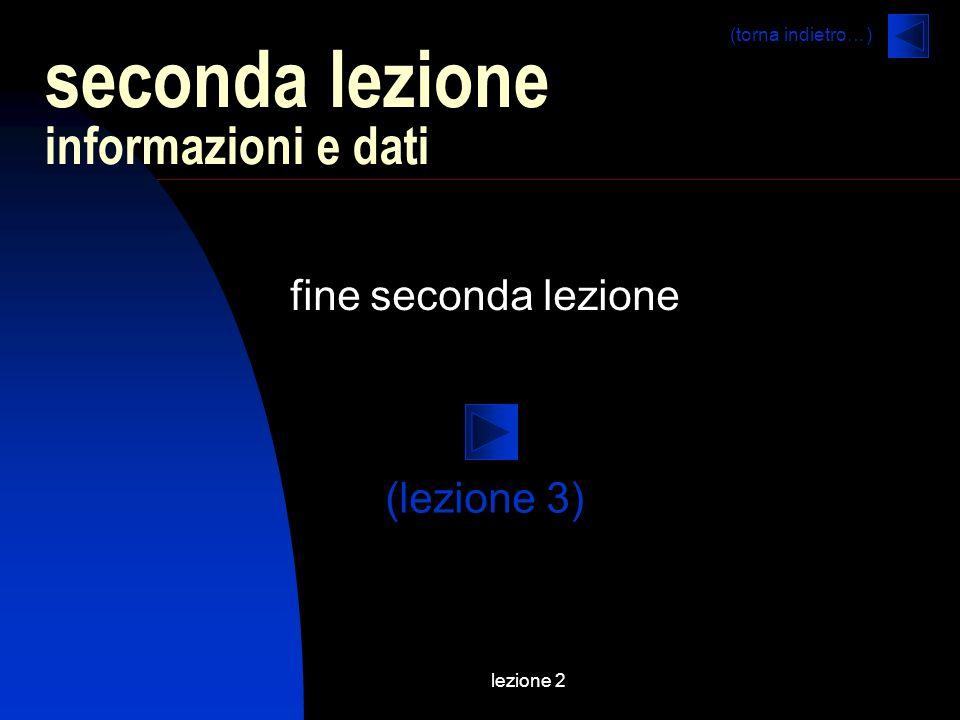 lezione 2 fine seconda lezione seconda lezione informazioni e dati (lezione 3) (torna indietro…)