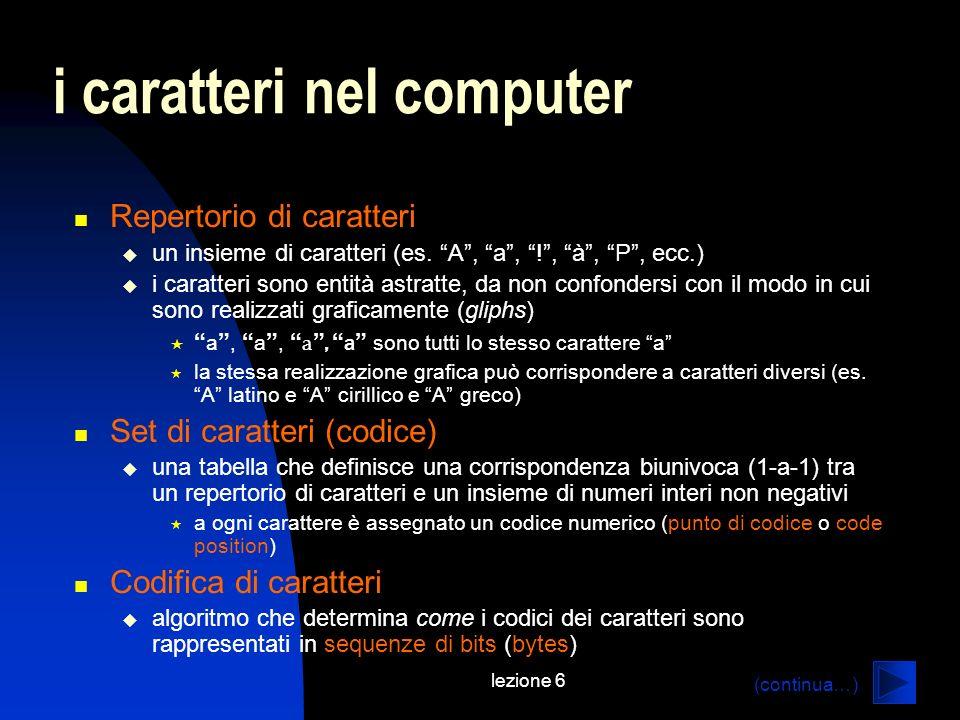 lezione 6 i caratteri nel computer Repertorio di caratteri un insieme di caratteri (es. A, a, !, à, P, ecc.) i caratteri sono entità astratte, da non