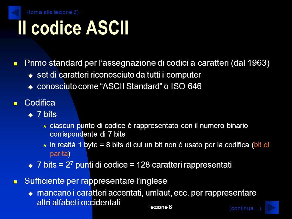 lezione 6 Il codice ASCII Primo standard per lassegnazione di codici a caratteri (dal 1963) set di caratteri riconosciuto da tutti i computer conosciu
