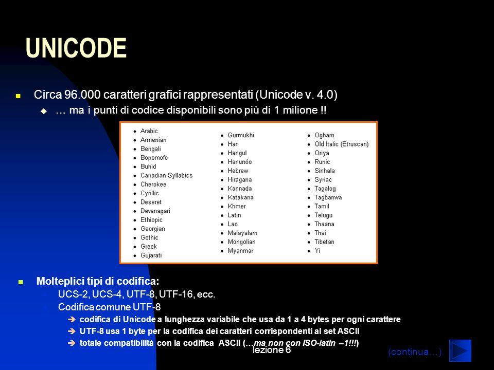lezione 6 UNICODE Circa 96.000 caratteri grafici rappresentati (Unicode v. 4.0) … ma i punti di codice disponibili sono più di 1 milione !! Molteplici