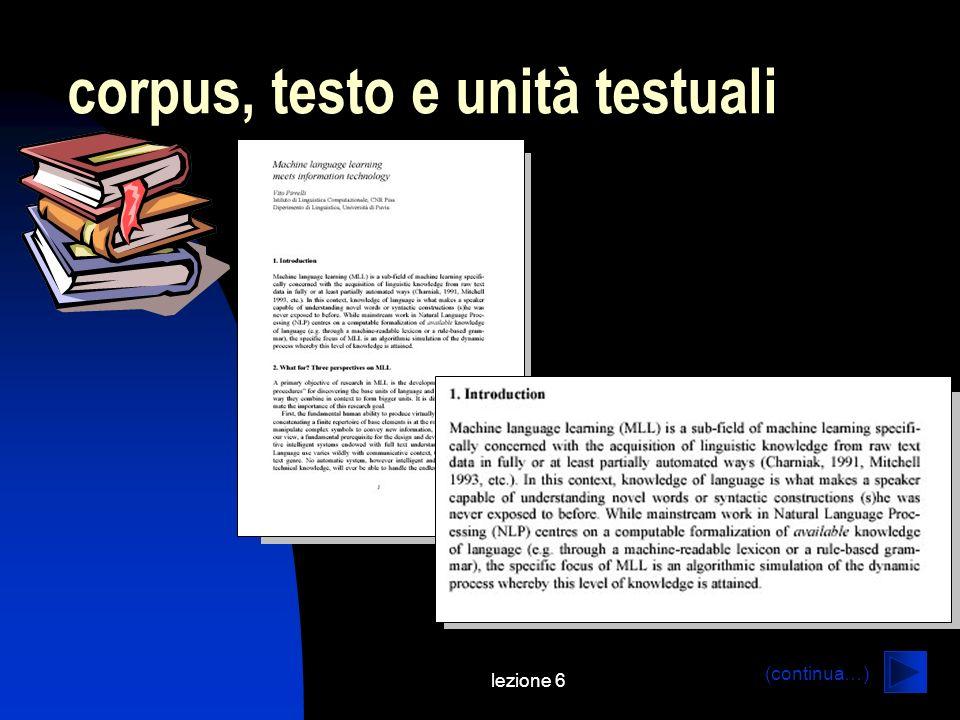 lezione 6 corpus, testo e unità testuali (continua…)