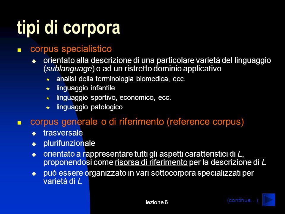 lezione 6 tipi di corpora corpus specialistico orientato alla descrizione di una particolare varietà del linguaggio (sublanguage) o ad un ristretto do