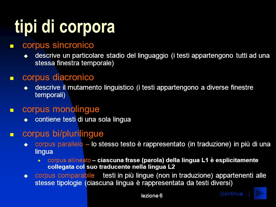 lezione 6 tipi di corpora corpus sincronico descrive un particolare stadio del linguaggio (i testi appartengono tutti ad una stessa finestra temporale