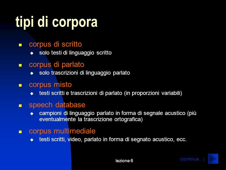 lezione 6 tipi di corpora corpus di scritto solo testi di linguaggio scritto corpus di parlato solo trascrizioni di linguaggio parlato corpus misto te