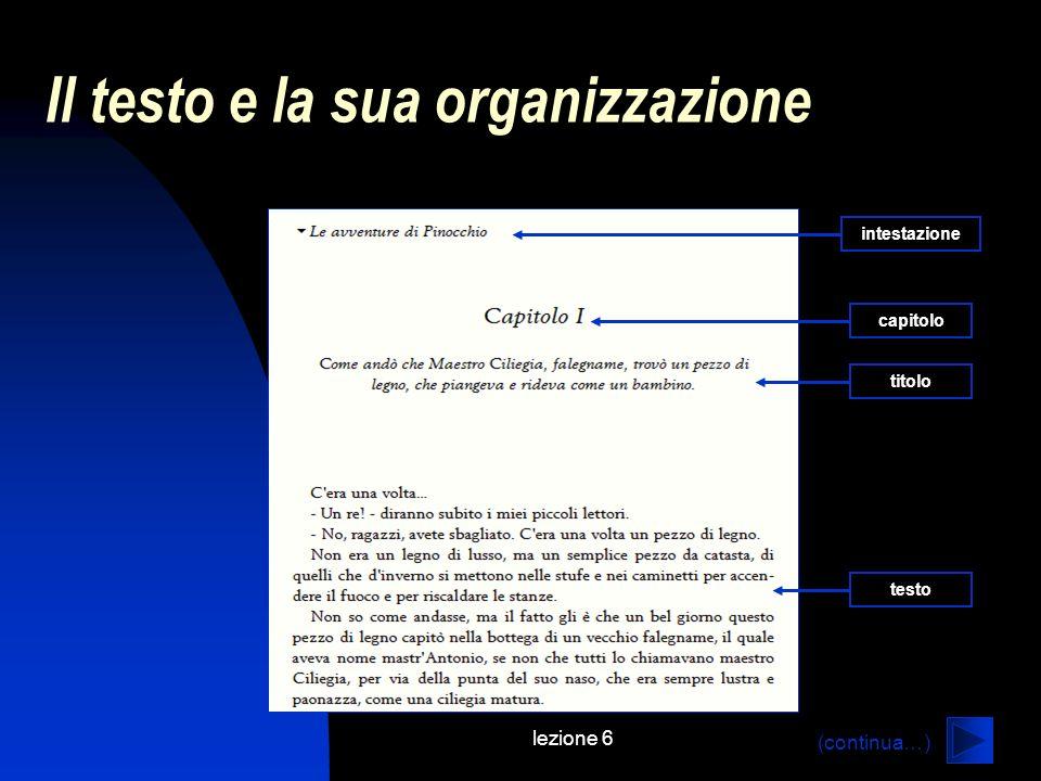 lezione 6 Il testo e la sua organizzazione titolo capitolo testo intestazione (continua…)