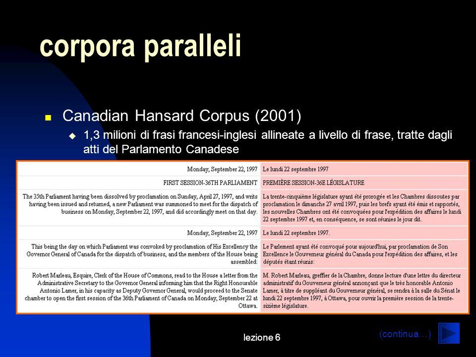 lezione 6 corpora paralleli Canadian Hansard Corpus (2001) 1,3 milioni di frasi francesi-inglesi allineate a livello di frase, tratte dagli atti del P