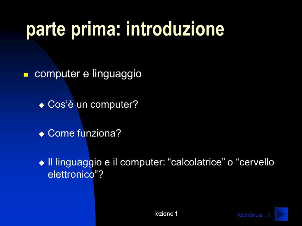 lezione 1 parte prima: introduzione computer e linguaggio Cosè un computer? Come funziona? Il linguaggio e il computer: calcolatrice o cervello elettr