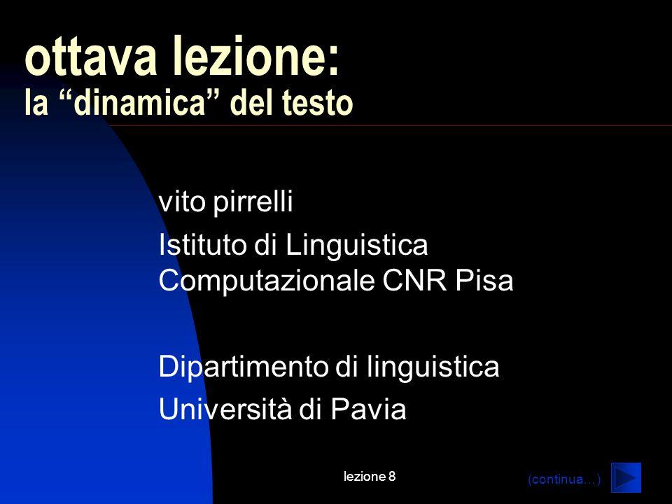 lezione 8 ottava lezione: la dinamica del testo vito pirrelli Istituto di Linguistica Computazionale CNR Pisa Dipartimento di linguistica Università di Pavia (continua…)