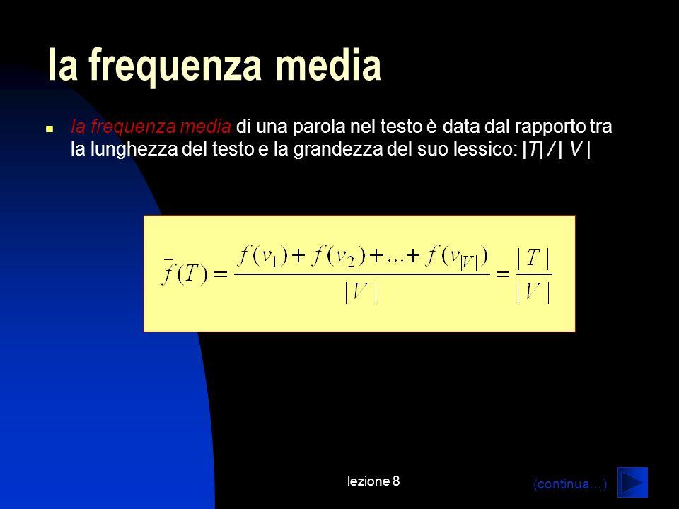 lezione 8 la frequenza media di una parola nel testo è data dal rapporto tra la lunghezza del testo e la grandezza del suo lessico: |T| / | V | la frequenza media (continua…)