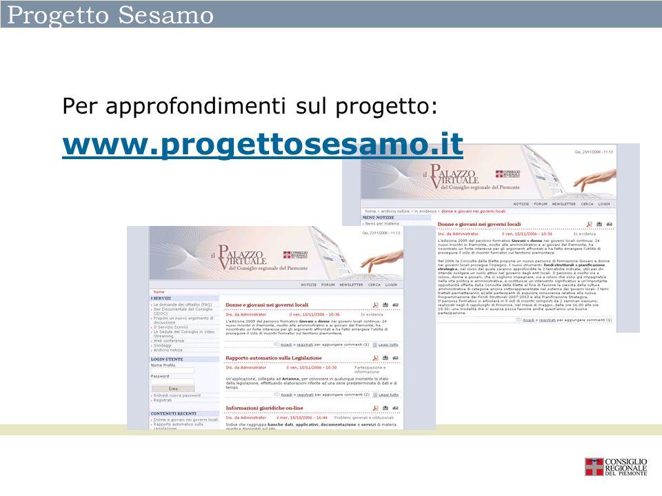 Progetto Sesamo Per approfondimenti sul progetto: www.progettosesamo.it